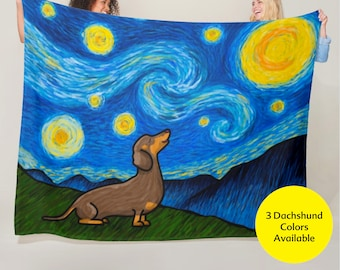 "Dachshund Starry Night Blanket - Starry Baroo 50"" x 60"" or 60"" x 80"""
