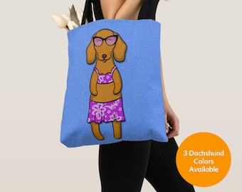 GIRL Sunbathing Dachshund Tote Bag (Black/Tan, Chocolate, or Red Dachshund Available) -Dachshunds- Weiner Dog Lover Gift-4 BACKGROUND COLORS