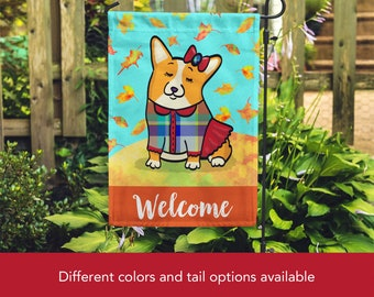 GIRL Corgi Garden Flag - Unique Corgi Gift - Pembroke and Cardigan Corgis -  Autumn Fall Corgi Garden Flag - Tri Color/Merle Corgis