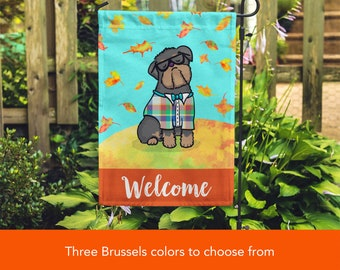 BOY Brussels Griffon Garden Flag - Unique Brussels Griffon Gift - Brussels Griffon -  Autumn Fall Brussels Griffon Garden Flag