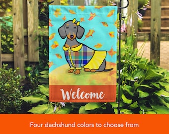 GIRL Dachshund Garden Flag - Unique Corgi Gift - Dachshunds -  Autumn Fall Dachshund Garden Flag - Red, Black/Tan, Chocolate and Dapple