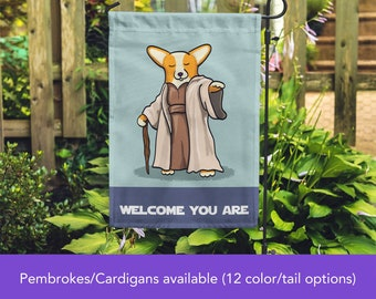 Yoda Corgi Garden Flag - Unique Corgi Gift - Pembroke and Cardigan Corgis - Star Wars Corgi Garden Flag - Tri Color/Merle/Brindle Corgis