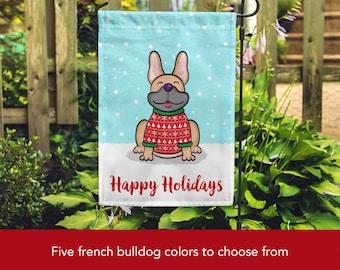Holiday French Bulldog Garden Flag - Unique French Bulldog Gift - French Bulldogs - Holiday French Bulldog Garden Flag (Blue, Fawn & more)