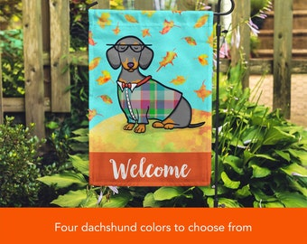 BOY Dachshund Garden Flag - Unique Corgi Gift - Dachshunds -  Autumn Fall Dachshund Garden Flag - Red, Black/Tan, Chocolate and Dapple
