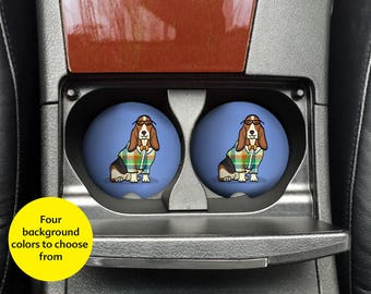Basset Hound Car Coasters - Set of 2 Basset Hound Sandstone Car Coasters - Unique Basset Hound Gift - Basset Hound