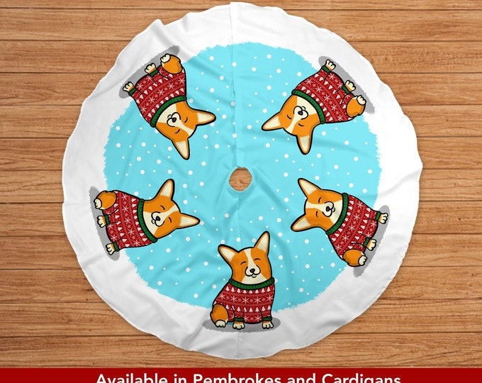 Featured listing image: Corgi Tree Skirt - Pembroke and Cardigan options available