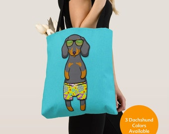 BOY Sunbathing Dachshund Tote Bag (Black/Tan, Chocolate, or Red Dachshund Available) -Dachshunds- Weiner Dog Lover Gift -4 BACKGROUND COLORS
