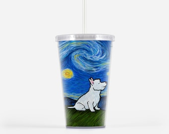 Westie West Highland Terrier Beverage Tumbler - Starry Night Westie Gift