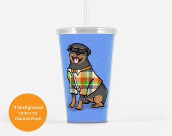 Rottweiler Beverage Tumbler  - Rottweiler Gift - choose from four background colors