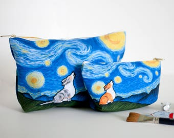 "Corgi Pouch Accessory Bag Two Sizes""- ""Starry Baroo"" Travel Bag/Makeup Bag - Different Corgi colors to choose from (Pembroke & Cardigan)"