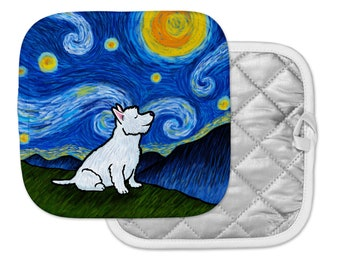 Westie West Highland White Terrier Potholder - Westie Pot Holder - Starry Night Westie