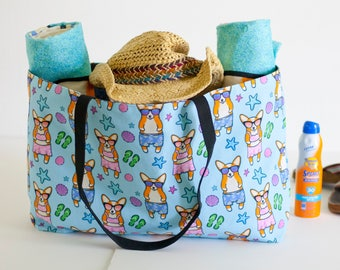 Corgi Weekender Beach Tote Bag (Pembroke or Cardigan)