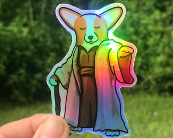 "Holographic Corgi Yoda Sticker - 3"" corgi sticker, laptop sticker, mug sticker, corgi decal - corgi lover gift idea - FREE SHIPPING"