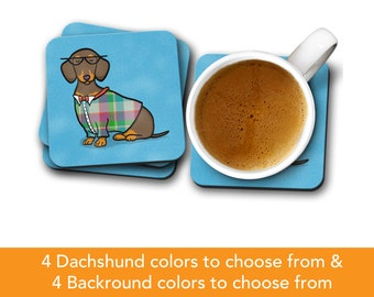 Dachshund Coasters - Fun Dachshund Coasters - Set of 4 - Dachshund Gift - Choose Dachshund Colors & Background Color