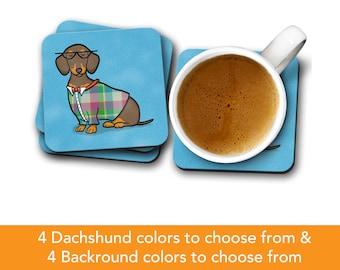 Dachshund Coasters - Fun Dachshund Coasters - Set of 4 - Dachshund Gift - Choose Dachshund Colors & Background Color