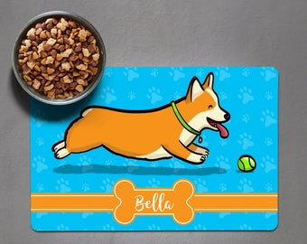 Personalized Corgi Placemat - Dog Bowl Place Mat - Pembroke Welsh Corgi - choose corgi color/color scheme/frame shape/font