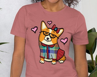 Red / white Pembroke corgi Short-Sleeve Unisex T-Shirt - Girl Corgeek shirt