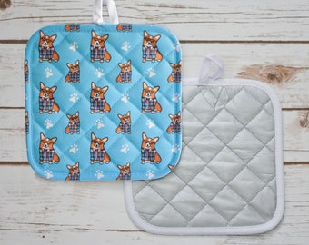 "Corgi Potholder - ""Corgeek"" Corgi Pot Holder - Different Corgi varieties to choose from (Pembroke & Cardigan Corgis)"