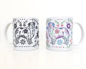Sugar Skull Aussie Mug - Australian Shepherd Coffee Mug - Dia de los muertos - Dia de los Aussies -  Australian Shepherd Mug