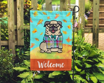 BOY Pug Garden Flag - Unique Pug Gift - Pug -  Autumn Fall Pug Garden Flag