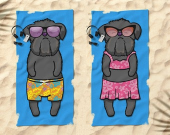 "Black Brussels Griffon Beach Towel - Brussels Griffon Gift - 30"" x 60"" or 36"" x 72"" - Boy or Girl Sunbathing Brussels Griffon"