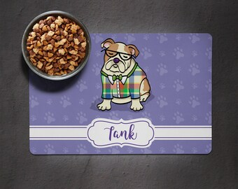 Personalized English Bulldog Placemat - Dog Bowl Place Mat - English Bulldog Gift  - choose color scheme/frame shape/font
