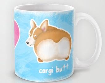 Corgi - Pembroke Welsh Corgi Coffee Mug - Pet Lover Gift - Fluffy Butt - Corgi Butt Mug - Peace, Love, Corgi Butt