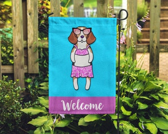 Beagle Garden Flag (GIRL) - Unique Beagle Gift - GIRL Beagle Garden Flag