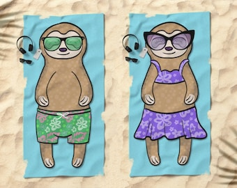 "Sloth Beach Towel - Sloth Gifts - 30"" x 60"" or 36"" x 72"" - Gift for Sloth Lovers - Boy or Girl Sunbathing Sloth"