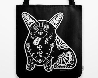 Sugar Skull Corgi Tote Bag - Dia de los Muertos - Dia de los Corgis - Pembroke Welsh Corgi Tote Bag - Corgi - Pet Lover Gift