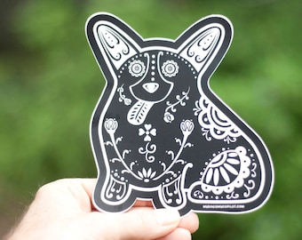 Corgi Decal - Sugar Skull Corgi Decal - Corgi Sticker - Corgi Bumper Sticker - Corgi Laptop Sticker - Corgi Car Decal | Corgi Gift Idea