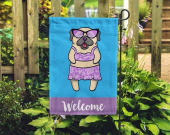 Pug Garden Flag (GIRL) - Unique Pug Gift - GIRL Sunbathing Pug Garden Flag