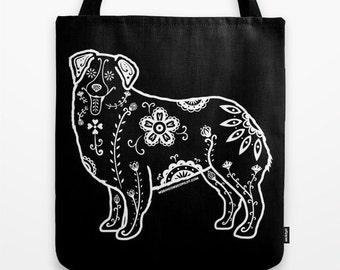 Sugar Skull Australian Shepherd Tote Bag - Dia de los Muertos - Dia de los Aussies - Australian Shepherd Tote Bag - Pet Lover Gift
