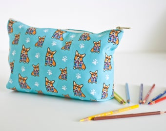 "Large Corgi Pouch Accessory Bag 12.5 x 7""- ""Corgeek"" Travel Bag/Makeup Bag - Different Corgi colors to choose from (Pembroke & Cardigan)"
