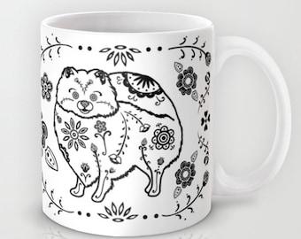 Sugar Skull Pomeranian Mug - B&W