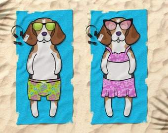 "Beagle Beach Towel - Beagle Gifts - 30"" x 60"" or 36"" x 72"" - Gift for Beagle Lovers - Boy or Girl Sunbathing Beagle"