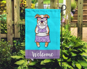 English Bulldog Garden Flag (GIRL) - Unique English Bulldog Gift - GIRL Sunbathing English Bulldog Garden Flag