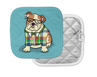 "English Bulldog Potholder - ""English Bulldog Geek"" English Bulldog Pot Holder - Choose Background Color"
