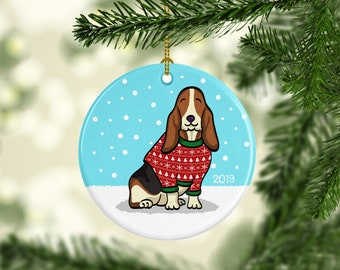 Basset Hound Ornament - Ugly Sweater Basset Hound Ornament - 2019