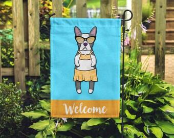 Boston Terrier Garden Flag (GIRL) - Unique Boston Terrier Gift - GIRL Sunbathing Boston Terrier Garden Flag