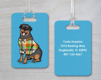 Personalized Luggage Tag - Rottweiler - Rottweiler Gift - CHOOSE BACKGROUND COLOR - Rottweiler