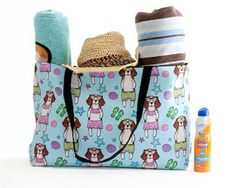 Beagle Weekender Beach Tote Bag - Beagle Beach Bag - Beagle overnight bag