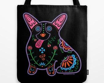 Color Sugar Skull Corgi Tote Bag - Dia de los Muertos - Dia de los Corgis - Pembroke Welsh Corgi Tote Bag - Corgi - Pet Lover Gift