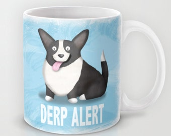Cardigan Corgi Coffee Mug- Black and White Cardigan Corgi - Pet Lover Gift - Derp - CHOOSE BACKGROUND COLOR