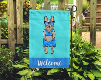 Australian Cattle Dog Garden Flag (GIRL) - Unique Blue Heeler Gift - GIRL Sunbathing Cattle Dog Garden Flag