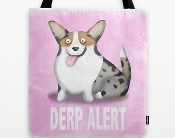 Cardigan Welsh Corgi Tote Bag - Corgi - Pet Lover Gift - Derp - Blue Merle -  CHOOSE BACKGROUND COLOR