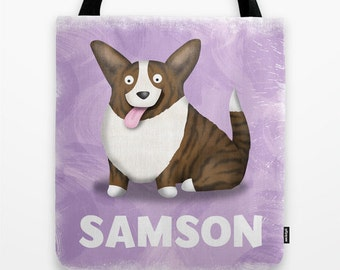 PERSONALIZED Brindle Cardigan Welsh Corgi Tote Bag - Corgi - Pet Lover Gift - Derp - CHOOSE COLOR