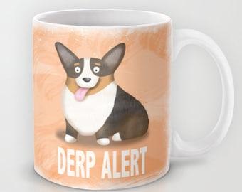 Pembroke Welsh Corgi Coffee Mug - Corgi - Pet Lover Gift - Derp - CHOOSE BACKGROUND COLOR