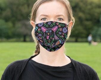 Corgi Face Mask - Sugar Skull Corgi Face Mask - Face Mask Coverlet - Color on Black