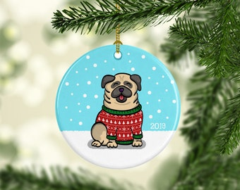 Pug Ornament - Ugly Sweater Pug Ornament - 2019